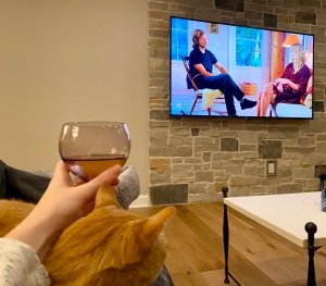 drinking wine with the cat and taylor swift
