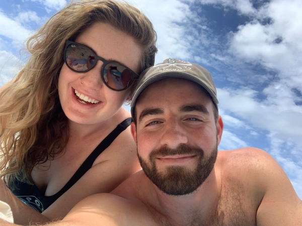 ben and emma in hawaii on beach